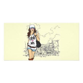 Fashion Girl Vector Illustration Card