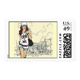 Fashion Girl Vector Illustration love  urban style Postage Stamp