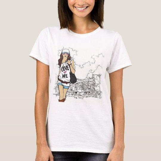 Fashion Girl Vector Illustration T-Shirt