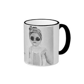 Fashion Girl with motivational Quote Black&White Ringer Mug