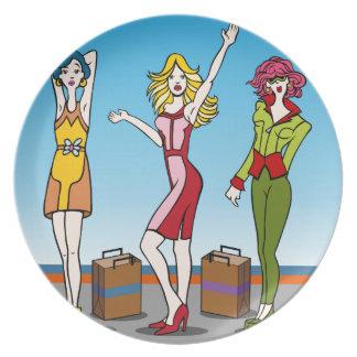 Fashion Girls Cartoon Characters Dinner Plate