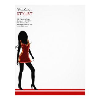 Fashion Girls in Red Dress Letterhead Template