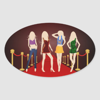 Fashion Girls on the Red Carpet Oval Stickers