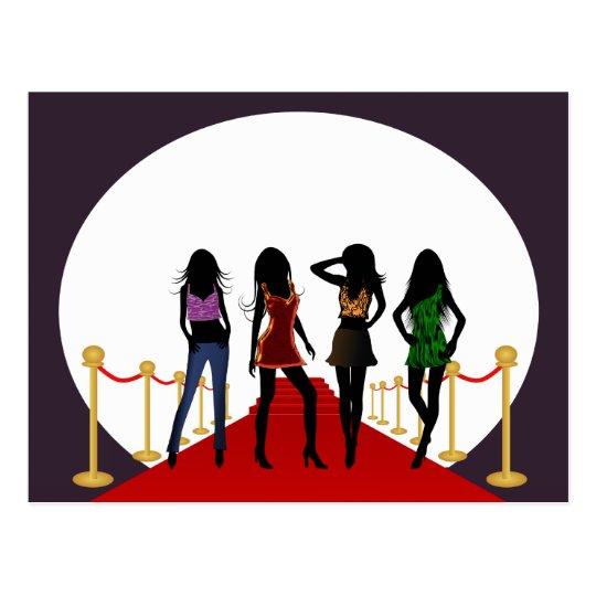 Fashion Girls on the Red Carpet Postcard