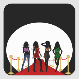 Fashion Girls on the Red Carpet Square Stickers