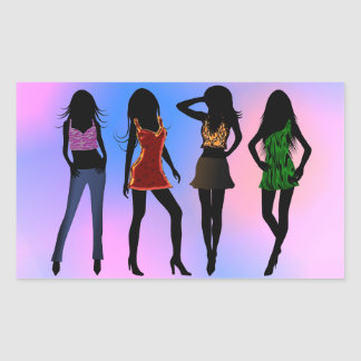 Fashion Girls Posing Models Rectangle Stickers