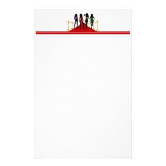 Fashion Girls Posing on Red Carpet Writing Paper