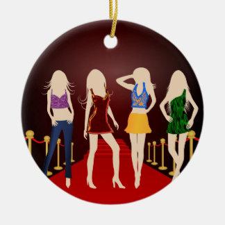Fashion Girls Red Carpet Standard Round Ornament