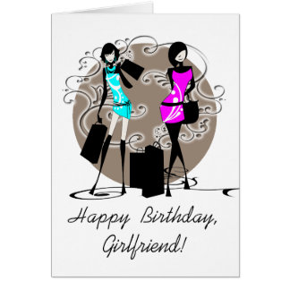 Fashion girly girls friends PERSONALIZE Card