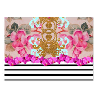 Fashion Girly Pink Floral Trendy Stripes Pattern Large Business Cards (Pack Of 100)