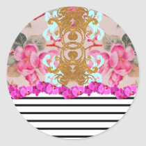 Fashion Girly Pink Floral Trendy Stripes Pattern Classic Round Sticker