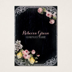Fashion Girly Vintage Flowers Chalkboard Business Card at Zazzle