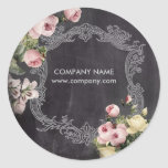 fashion girly vintage flowers chalkboard classic round sticker