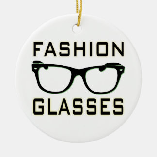 Fashion Glasses Double-Sided Ceramic Round Christmas Ornament