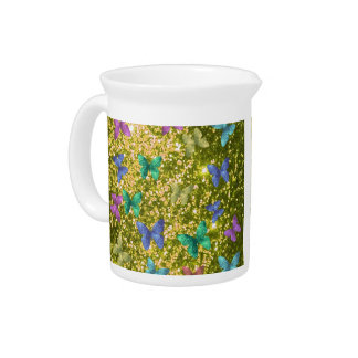Fashion glittering golden, colorful butterflies drink pitcher