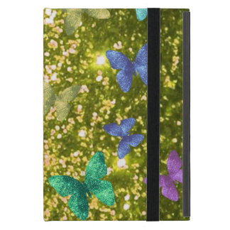 Fashion glittering golden with coloful butterlies. case for iPad mini