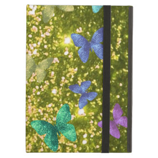 Fashion glittering golden with coloful butterlies. cover for iPad air