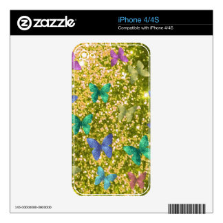 Fashion glittering golden with coloful butterlies. skin for the iPhone 4S