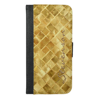 Fashion Gold Wall Brick Pattern with Monogram Name iPhone 6/6s Plus Wallet Case