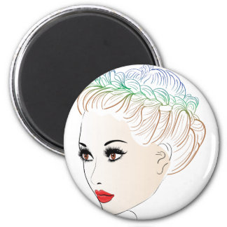 Fashion Hairstyles Lineart 2 Magnet