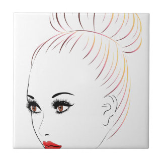 Fashion Hairstyles Lineart 6 Ceramic Tile