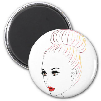 Fashion Hairstyles Lineart 6 Magnet