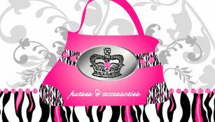 Fashion Handbag Crown Purse Pink Zebra Fl 2 Business Card