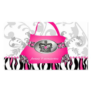 Fashion Handbag Crown Purse Pink Zebra Floral 2 Business Card Templates