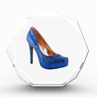 Fashion High Heel Shoe Blue add Text Acrylic Award