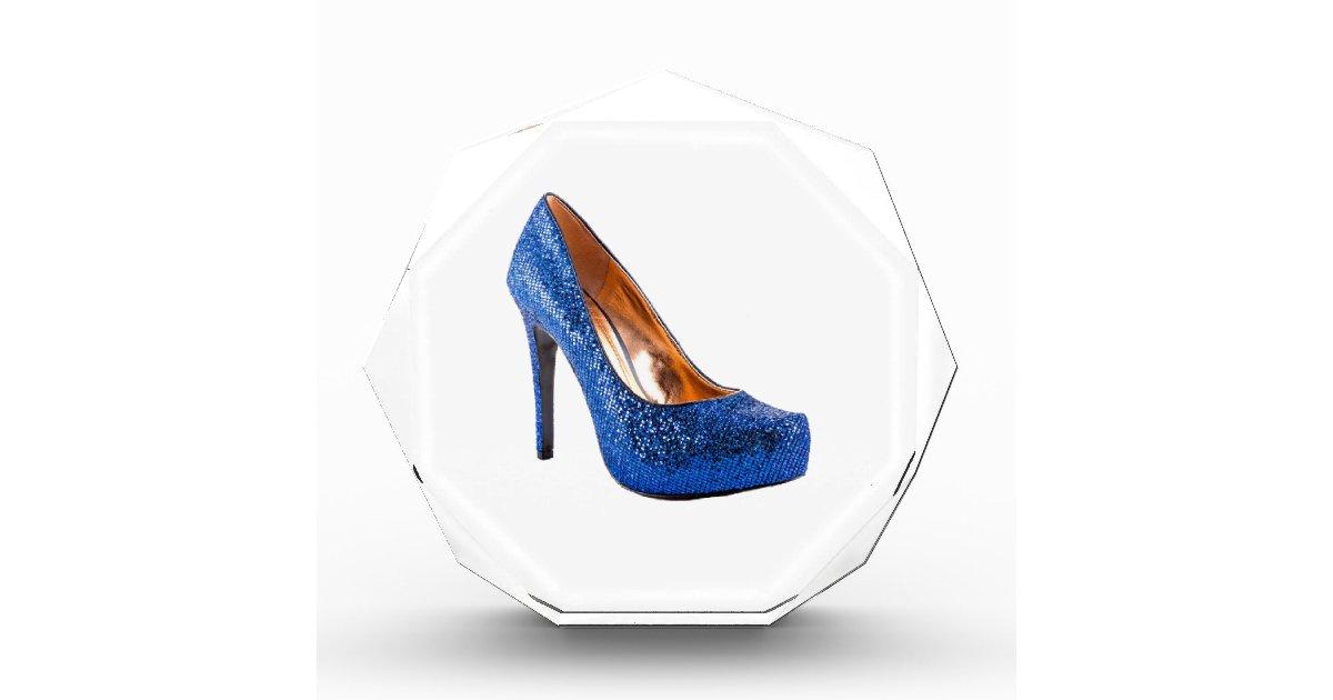fashion high heel shoe blue add text acrylic award zazzle