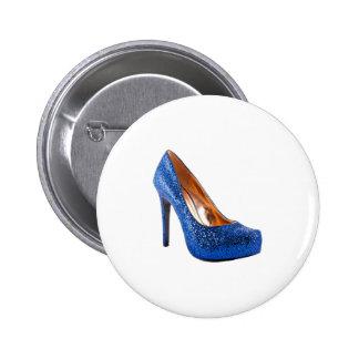 Fashion High Heel Shoe Blue add Text Pinback Button