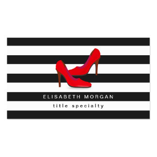Fashion Hot Red High Heels Shoes - Classic Stripes Business Card
