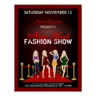 Fashion House Designer Fashion Show Red Poster