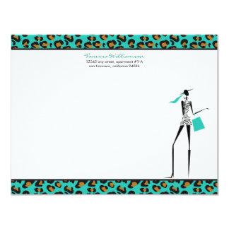 Fashion Icon Custom Flat Note Cards (aqua) Personalized Invite