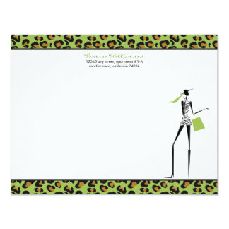 Fashion Icon Custom Flat Note Cards (lime) Invite