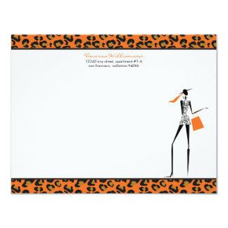 Fashion Icon Custom Flat Note Cards (orange) Personalized Announcement