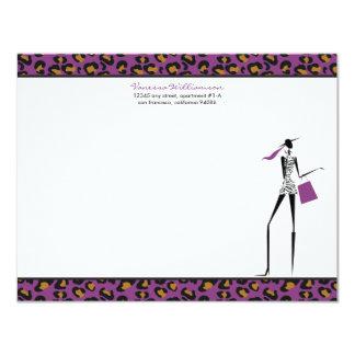 Fashion Icon Custom Flat Note Cards (purple)
