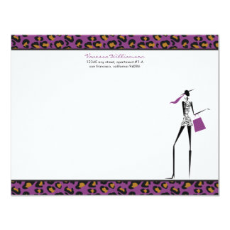Fashion Icon Custom Flat Note Cards (purple) Personalized Invitations