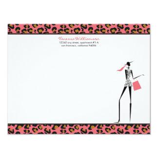 Fashion Icon Custom Flat Note Cards (rose) Invites