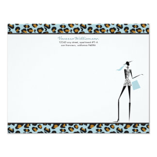 Fashion Icon Custom Flat Note Cards (sky) Custom Announcement