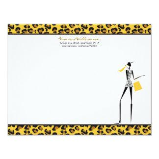 Fashion Icon Custom Flat Note Cards (yellow) Custom Announcement