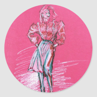 Fashion illustration, design by TJ Conway Classic Round Sticker