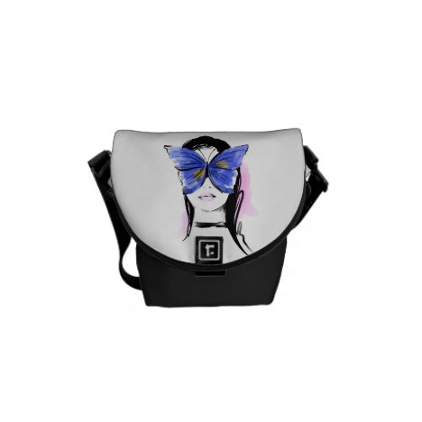 Fashion illustration glam woman with butterfly messenger bag