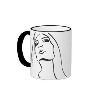 Fashion Illustration on a Cup Ringer Coffee Mug