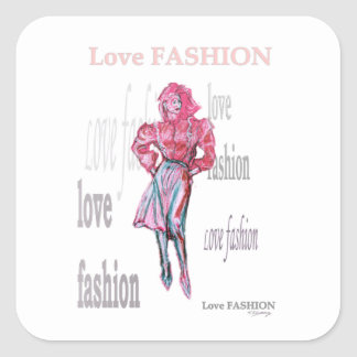 Fashion Illustration Square Sticker