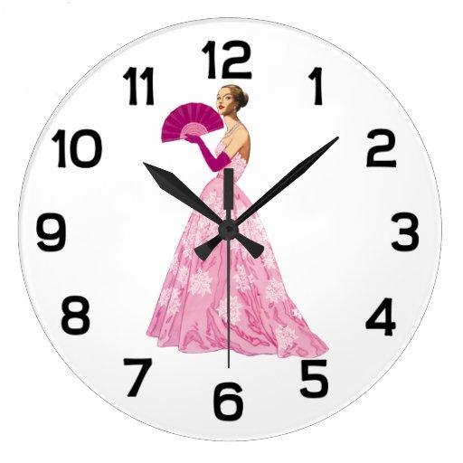 Fashion Illustration Vintage Fashionista Large Clock