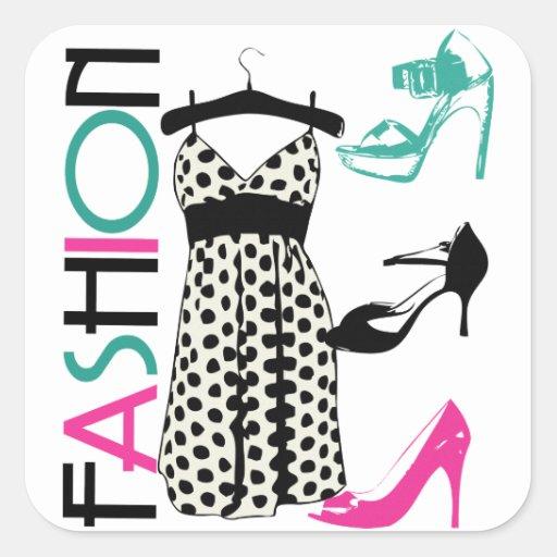 Fashion in Black and White Dots Square Sticker