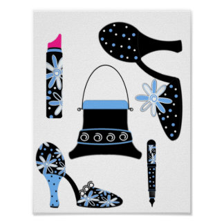 Fashion in Blue Poster