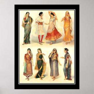 Fashion India  Saree Vintage Poster