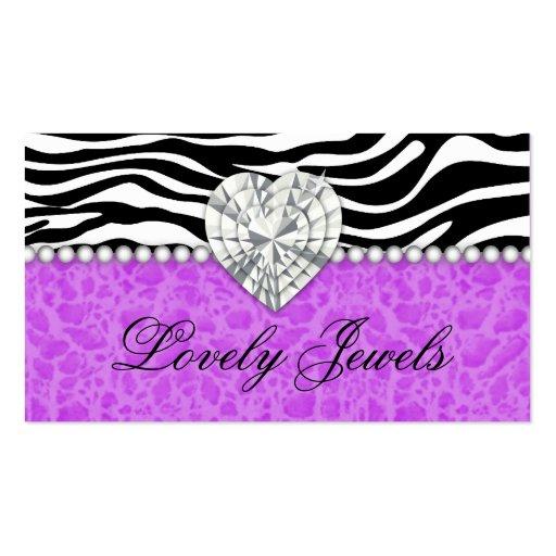 Fashion Jewel heart leopard Zebra Lace purple Business Cards